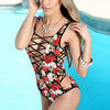 Image of 2017 Women Sexy Hollow-Out Swimsuit Summer Beach Pool Party Bodysuits Skull Print Lace Up Backless Sleeveless Bodycon Jumpsuits - galeriachic