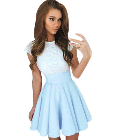 snowshine #4001  Womens Lace Party Cocktail Mini Dress Ladies Summer Short Sleeve Skater Dresses   free shipping - galeriachic