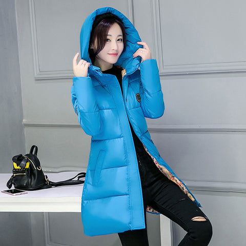 New Arrival Casual Warm Long Sleeve Ladies Basic Coat women parkas cotton Women Winter Jacket