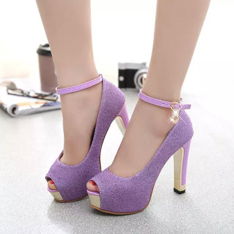 Female Sexy Peep Toe Buckle Strap Pumps Girls High Heel Glitter Shoes Women