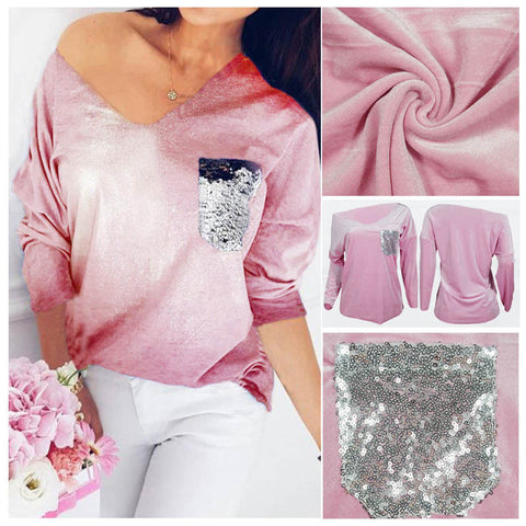 Womens Glitter Sequins Casual Long Sleeve Tops Shirt