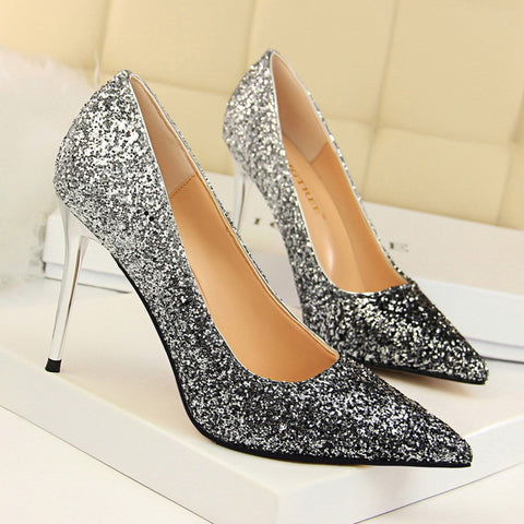 Fashion  Color Bling Sequin High Heels Party  Shoes Pointed Toe