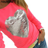 Image of Women's Long Sleeve Tops Sequined Bling Heart-shaped
