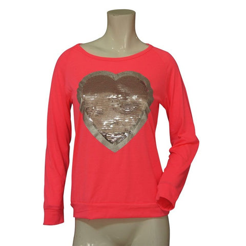 Women's Long Sleeve Tops Sequined Bling Heart-shaped