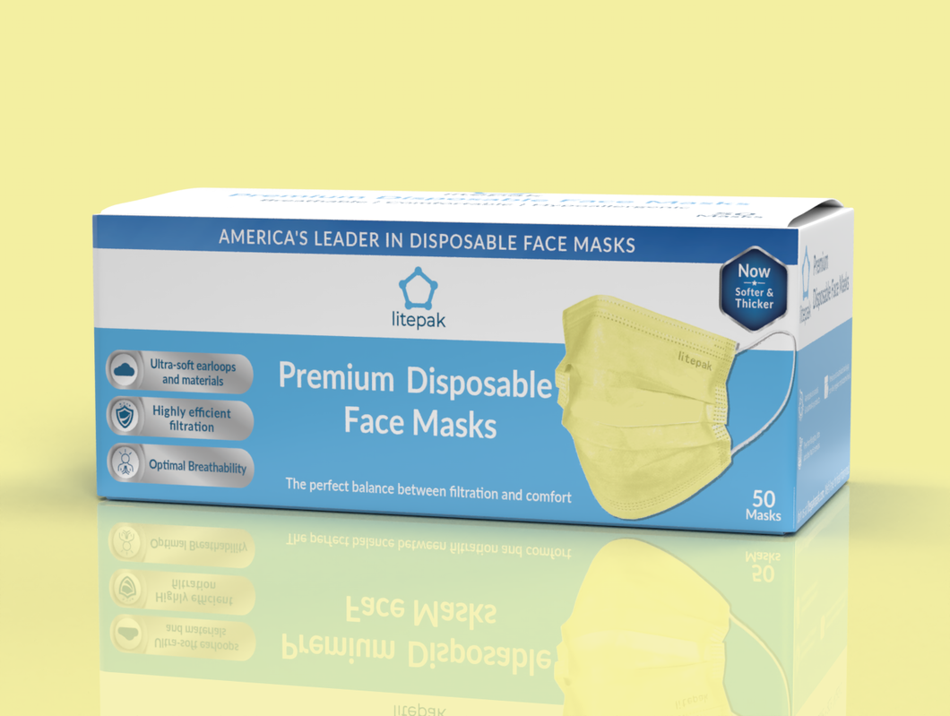 Litepak Premium Disposable Face Mask (50-Pack, Yellow)