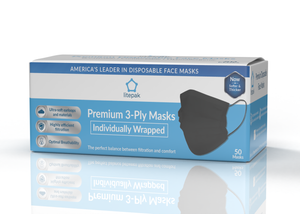 Litepak Premium Disposable Face Masks Black 3-Ply Individually Wrapped
