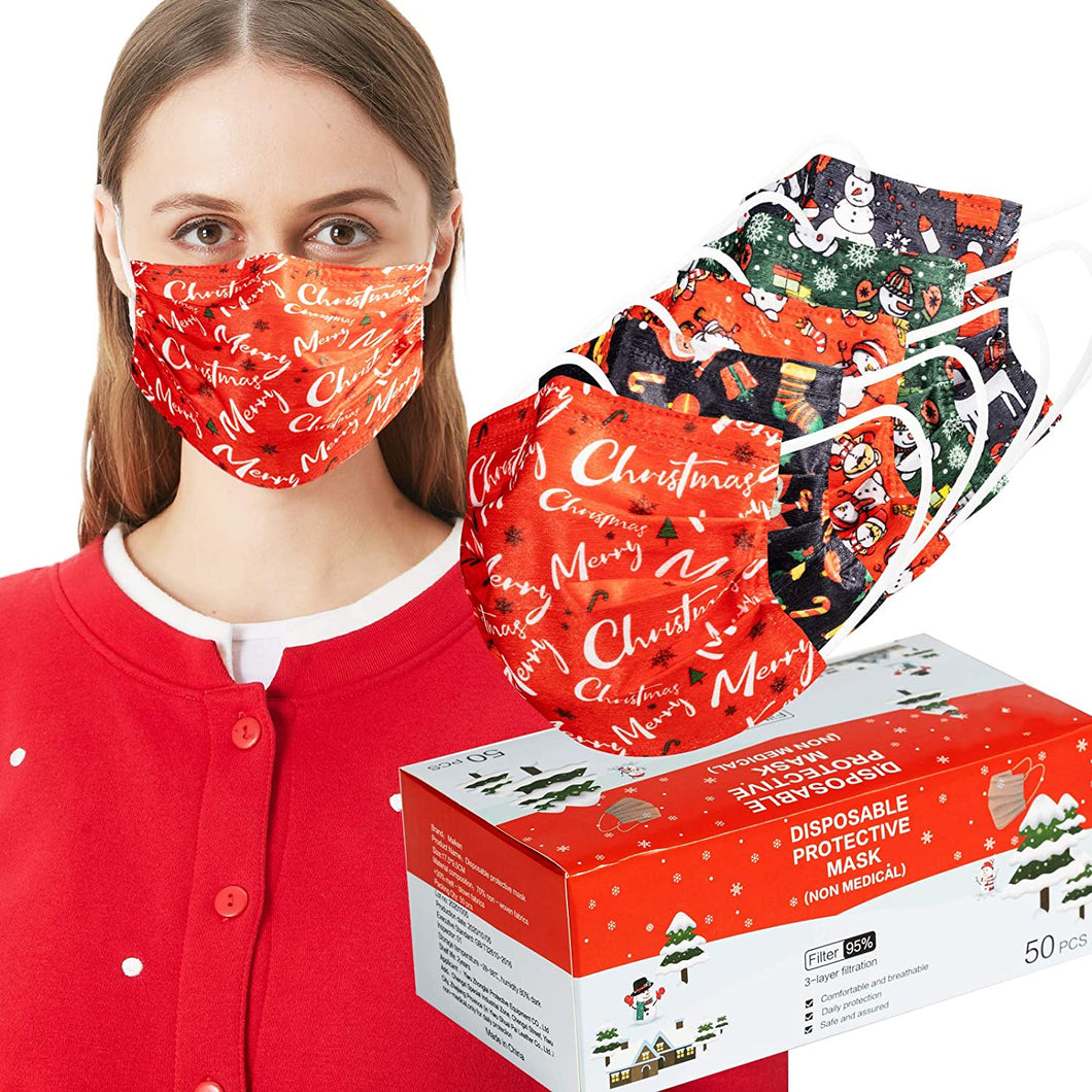 50 Pack 3-Ply Disposable Christmas Face Masks with Assorted Designs