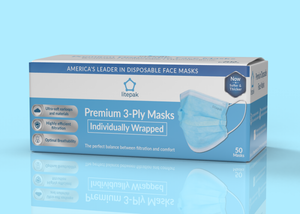 Litepak Premium Disposable Face Masks 3-Ply (50-Pack, Individually Wrapped)