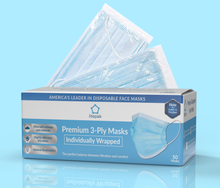 Load image into Gallery viewer, Litepak Premium Disposable Face Masks 3-Ply (50-Pack, Individually Wrapped)