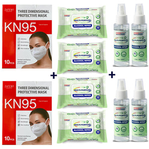 BUNDLE: 20pcs KN95 + Germisept 200 Wipes & 4x Disinfectant Sprays