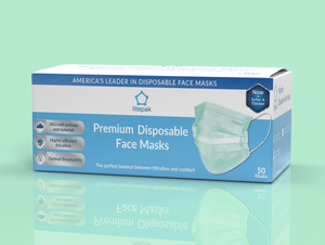 Litepak Premium Disposable Face Masks 3-Ply, Various Colors (50-Pack)
