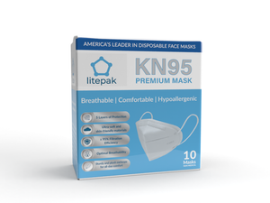 (10-Pack) Litepak Premium KN95 Face Mask - 5 Layer Filtration Respirator