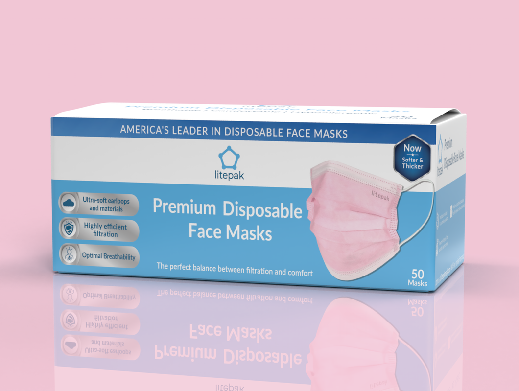Litepak Premium Disposable Face Mask (50-Pack, Pink)
