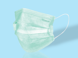 Litepak Premium Disposable Face Mask (50-Pack, Mint Green)