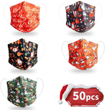 Load image into Gallery viewer, 50 Pack 3-Ply Disposable Christmas Face Masks with Assorted Designs