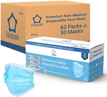 Load image into Gallery viewer, Litepak Premium Disposable Face Masks 3-Ply, 2000 Masks - Blue