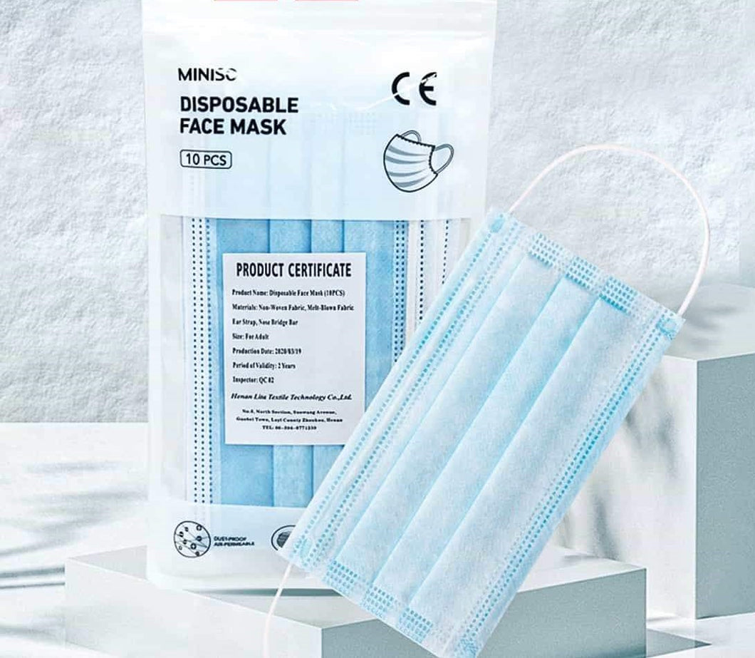 Blue 3-Ply Disposable Face Mask with Earloop & Hang Tab (Packs of 10,50,...2000)
