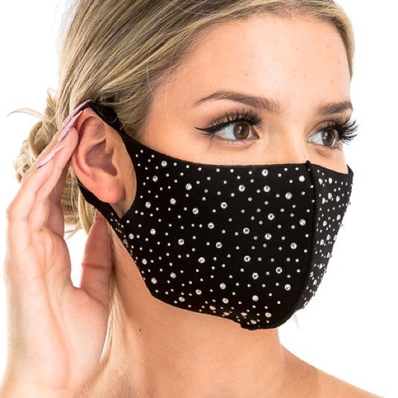 Rhinestone Face Mask Soft Double Layer Reusable Washable Assorted Bling