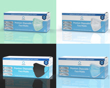 Load image into Gallery viewer, Litepak Premium Disposable Face Masks 3-Ply Color Bundle (4 Boxes of 50, Multiple Colors)