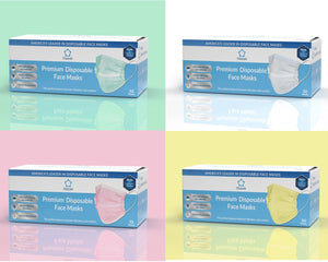 Litepak Premium Disposable Face Masks 3-Ply Color Bundle (4 Boxes of 50, Multiple Colors)