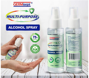 Germisept Multi-Purpose 75% Alcohol Disinfecting Spray Sanitizer 100ml (1 Pack, 10 Pack....96 Pack)