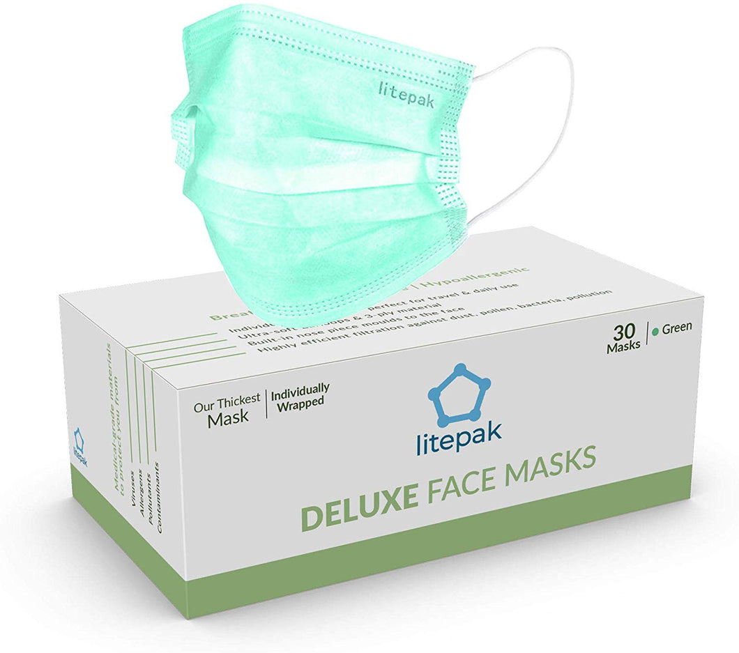 Litepak Deluxe Disposable Face Mask (Individually Wrapped, 30ct, Thick, Green)
