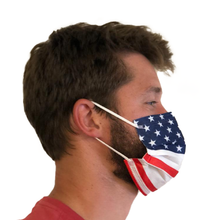 Load image into Gallery viewer, 50 Pack 3-ply American Flag Disposable Masks Individually Wrapped