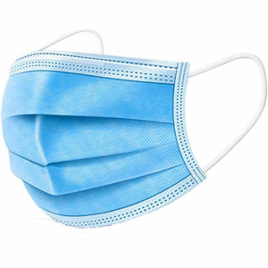 Blue 3-Ply Disposable Face Masks [Boxes of 50] (500 pcs, 1000 pcs, ....100,000 pcs)