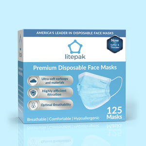 125 Masks- Litepak Premium-Grade Disposable 3-Ply Face Mask
