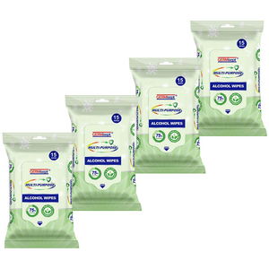 225 WIPES- Germisept Disinfecting Alcohol Wipes 75% Alcohol (15 packs of 15ct)
