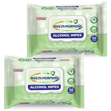 Load image into Gallery viewer, 100 Wipes - Germisept Disinfecting Alcohol Wipes 75% Alcohol Plant Based 2 x 50ct