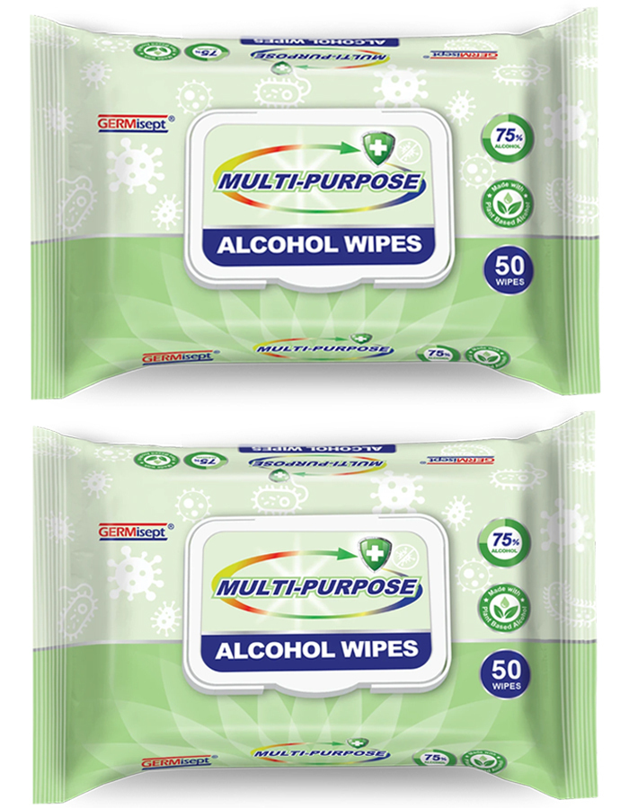 100 Wipes - Germisept Disinfecting Alcohol Wipes 75% Alcohol Plant Based 2 x 50ct