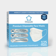 Load image into Gallery viewer, 125 Masks- Litepak Premium-Grade Disposable 3-Ply Face Mask