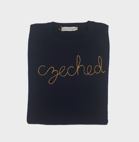 Women's Navy Czeched Cashmere Sweater