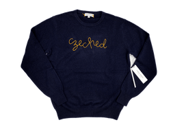 Men's Navy Czeched Cashmere Sweater
