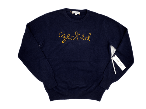 "Men's Navy ""Czeched"" Cashmere Sweater"