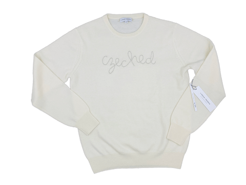 "Women's Cream ""Czeched"" Cashmere Sweater"