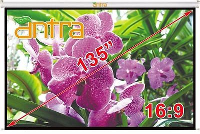 Antra™ PSA-135A 16:9 Electric Motorized Projector Projection Screen Remote Matt White