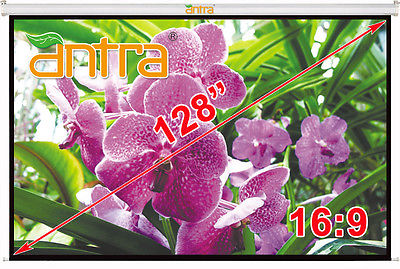 Antra™ PSA-128AG 16:9 Electric Motorized Projector Projection Screen Remote Matt Grey