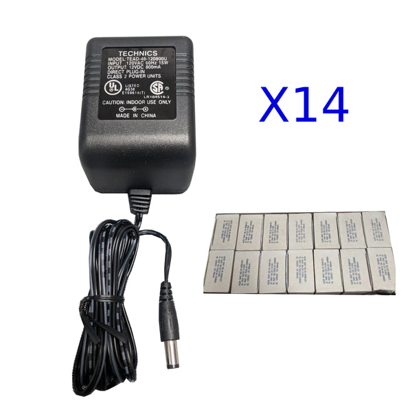 Box of 14 110AC to 12V DC Power Adapters 5.5x2.5mm 6ft Cord US Plug