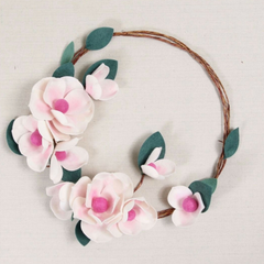 Benzie Design pink flower hoop art craft
