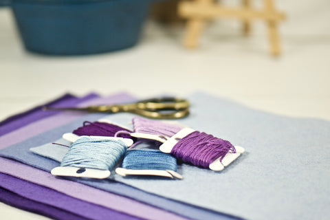 shades of purple for a new cross stitch project