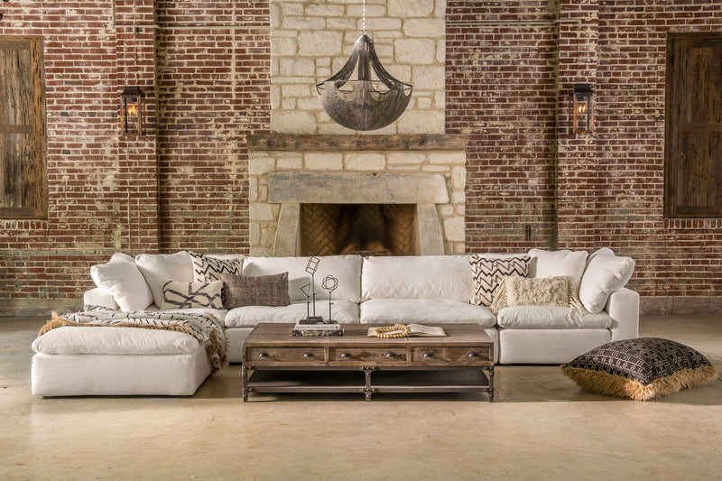 Modular Sectional that is a true slipcover and has feather down cushions.