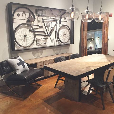 Austin by Stash Home Leather Brooks Chair with breakfast table and bike