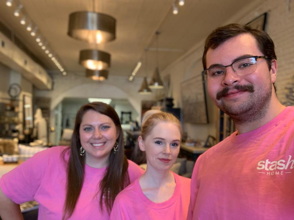 Employees at Stash Home in Oxford wear pink for breast cancer awareness