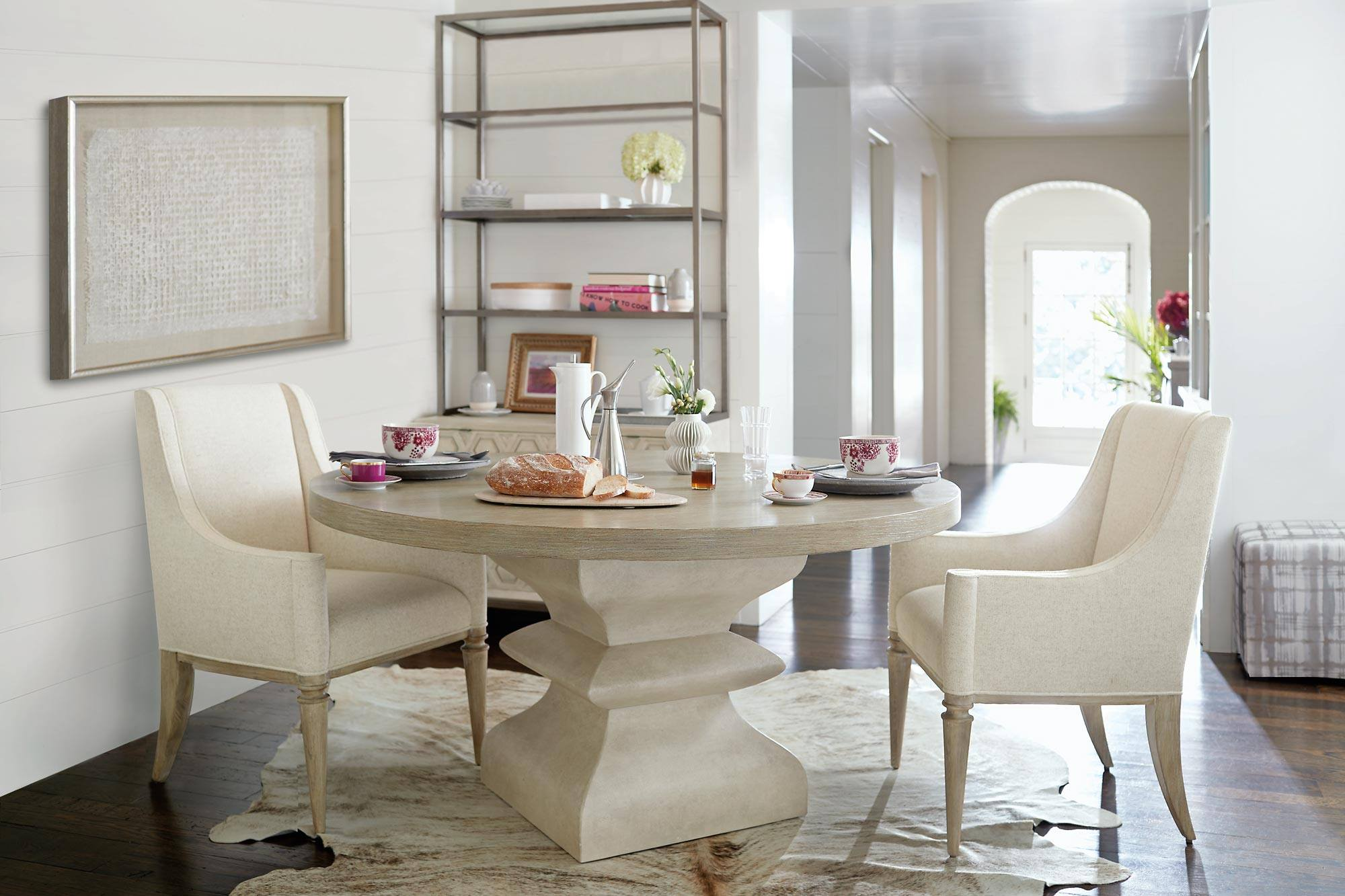 Bernhardt Round Dining Table with Pink Teacups | Stash Home