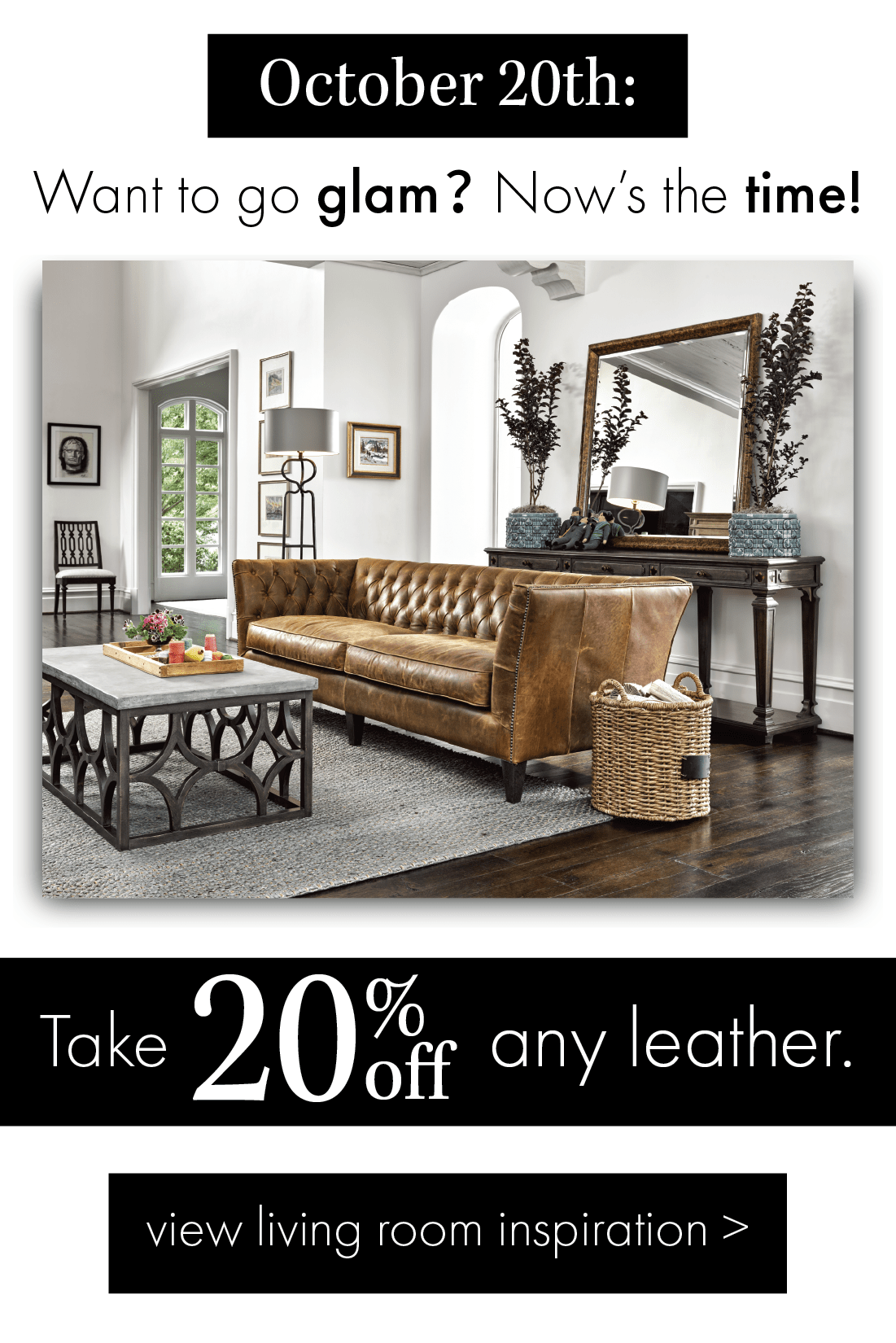 20% off Leather October 20, 2019 at Stash Home