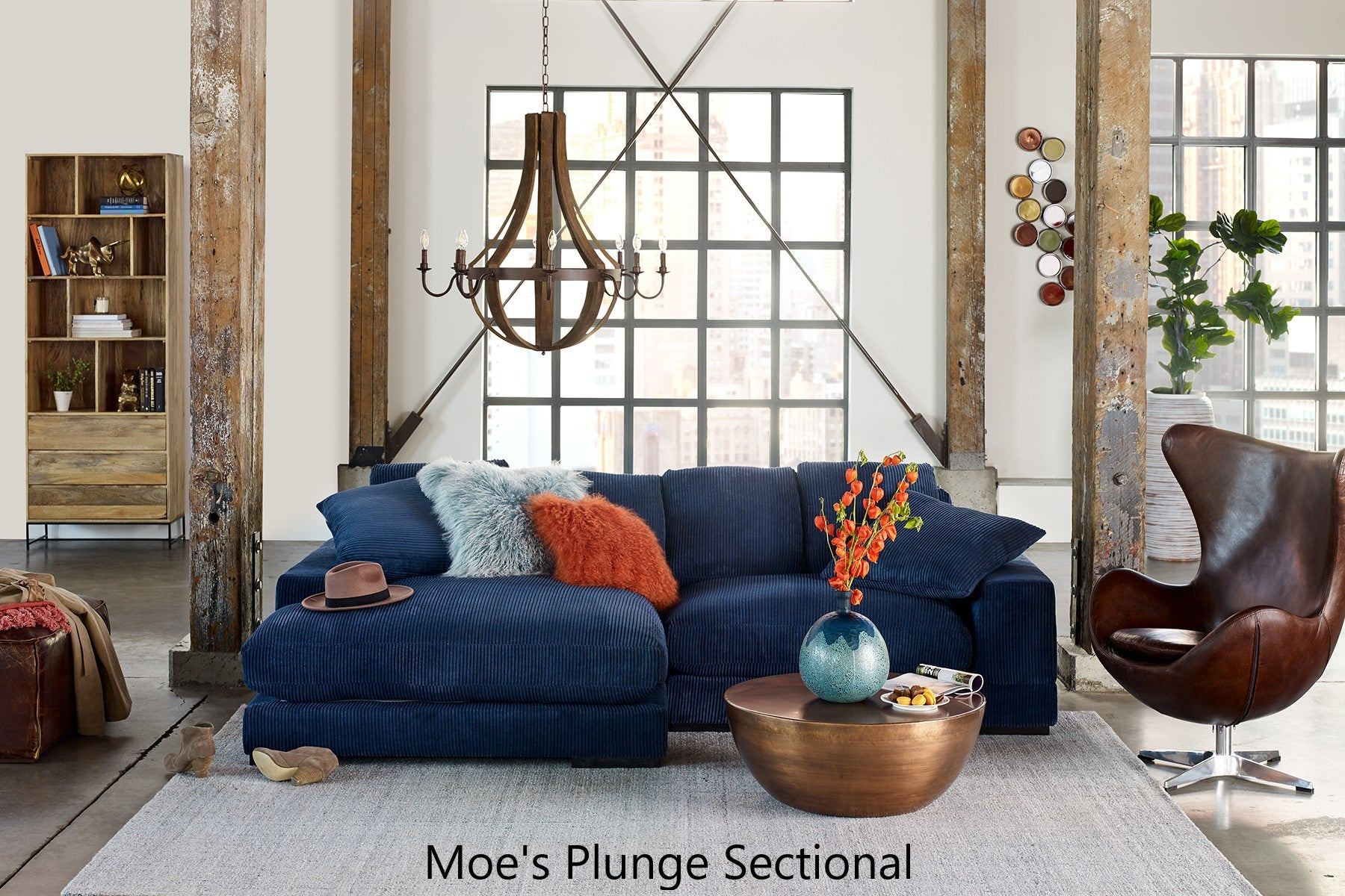 Moe's Plunge Blue Sectional