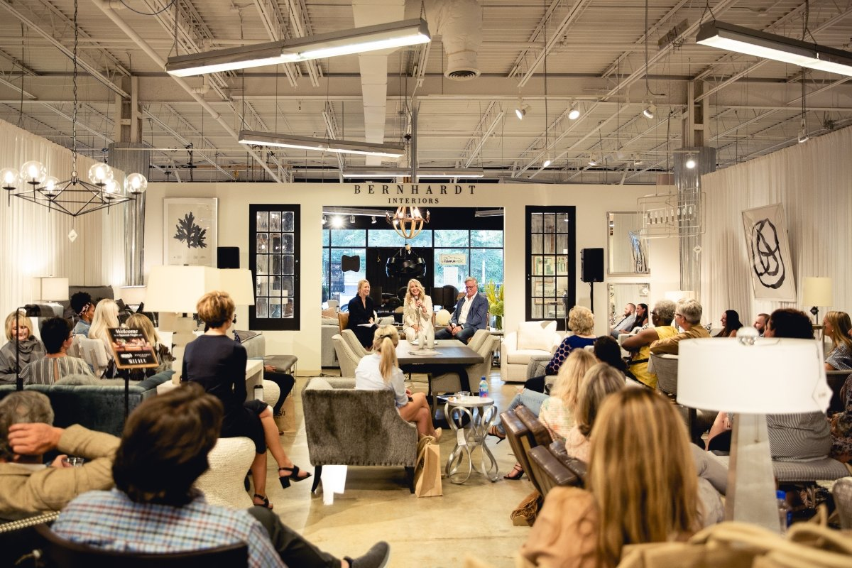 Discussion and Q and A in Stash's Bernhardt Interiors Boutique