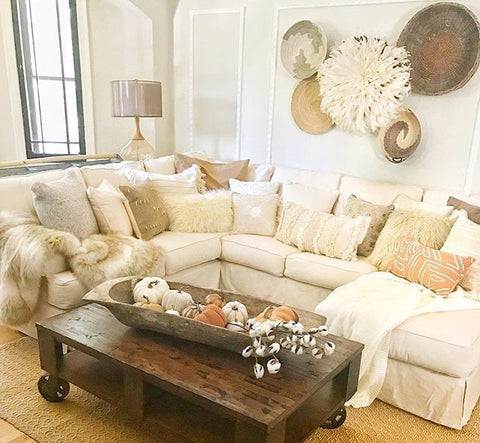 Variety of Pillows of White Sectional
